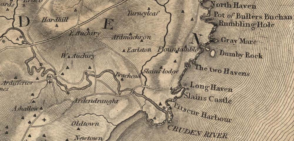 1822 Map showing the Water of Cruden entering the sea at the Old Water Moo'