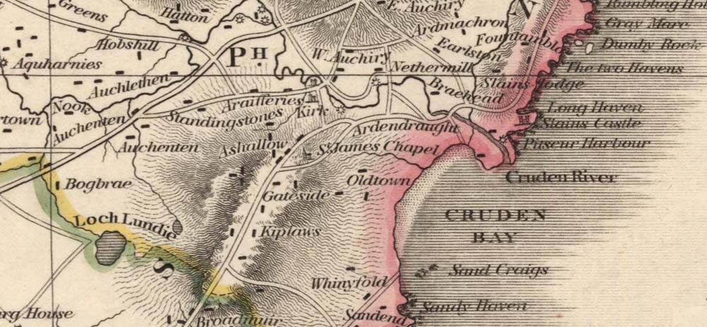 1820 Map showing the old route of the Water of Cruden