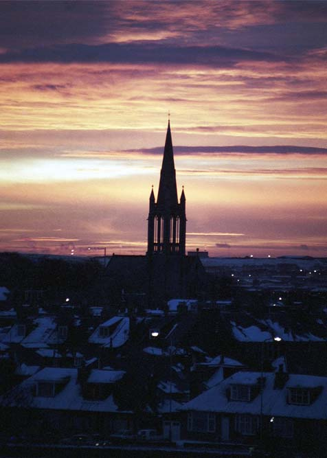 Beechgrove Church spire, Aberdeen on a snowy morning in the mid 1970s