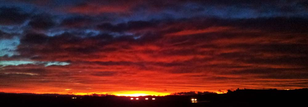 Red sky at night: . from the car park near the Longhaven cliffs, November 2013