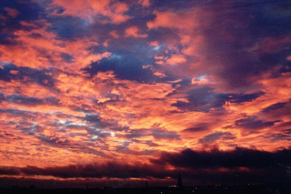 """Millennium Dawn"" -  Sunrise sky from Aberdeen Royal Infirmary, 31 December 1999.  If you look closely you will see the Beechgrove Church spire again."