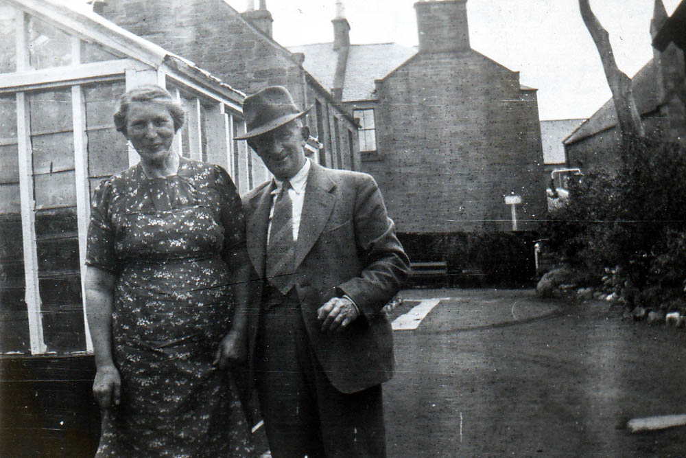 Pop Corbett with my Granny Georgina Smith outside the family house in Brechin.